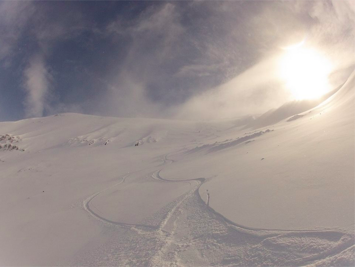 Late spring powder at Troll Peninsula, Northern Iceland.