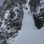 Chris Marshall and Oyvind Henningsen approach the Aussie Couloir on Mt. Joffre