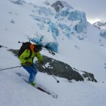 Chris Marshall skis the Matier ice fall