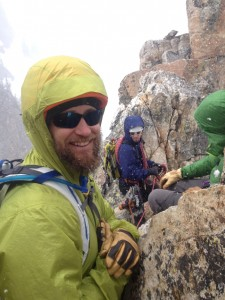 Josh Jackso, Ryan Huetter and Ron Paproski working the summit of the Cube