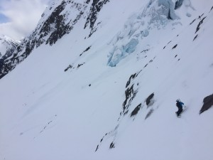 Eric Demonstrating a technical downhill guide on the NE Glacier of Cayoosh BC Photo Dylan Taylor
